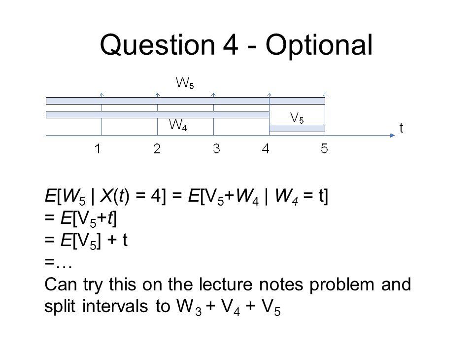 Question 4 - Optional E[W5 | X(t) = 4] = E[V5+W4 | W4 = t] = E[V5+t]